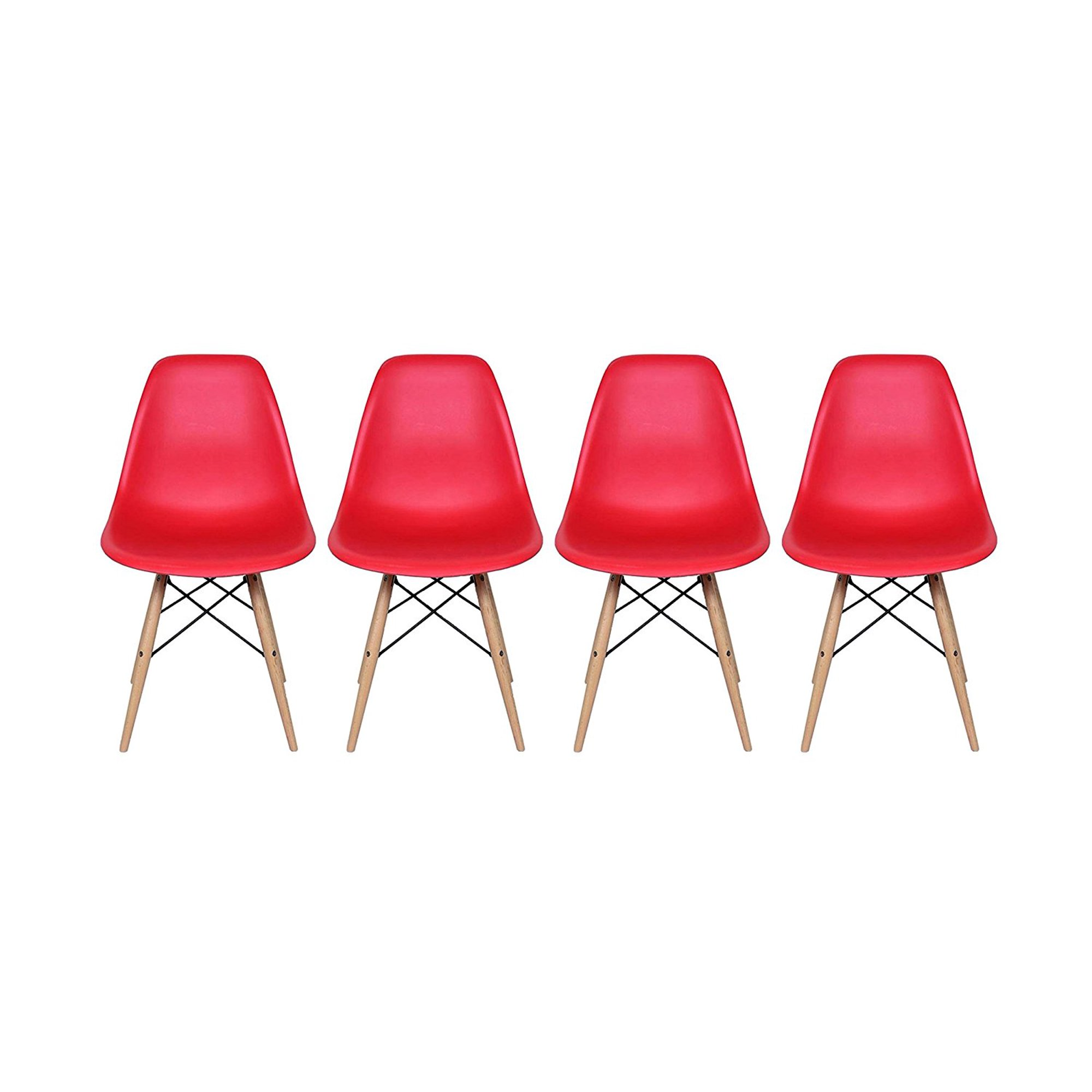 Red Eames Style Side Chair With Natural