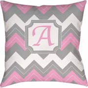 IDG Chevron Monogram Decorative Pillow, Pink