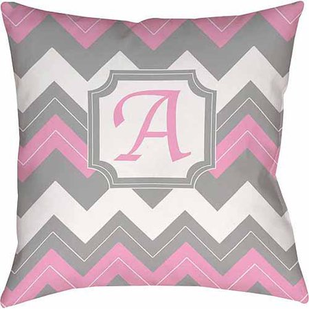 Thumbprintz Chevron Monogram Decorative Pillow, - Pink Pillow
