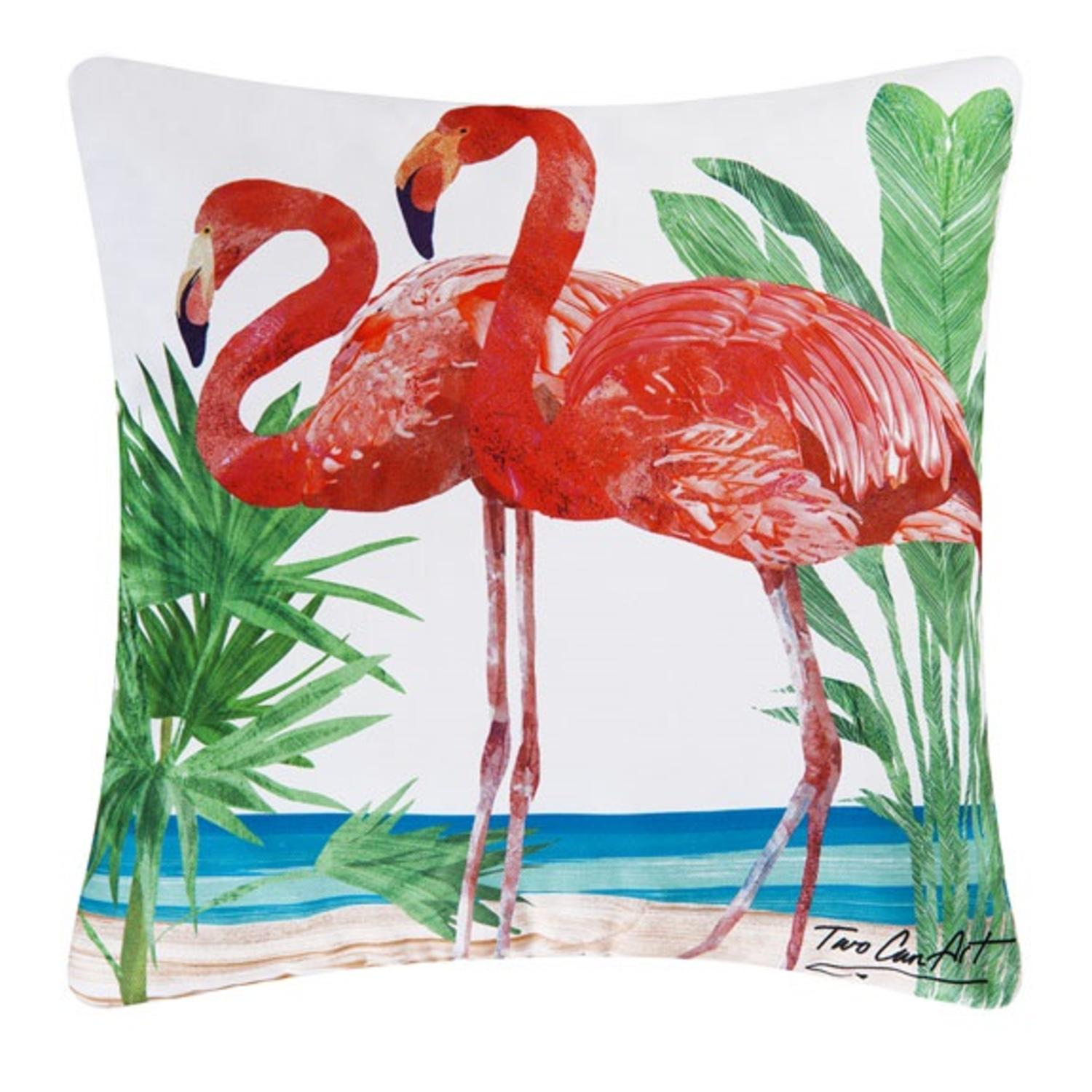 "18"" Decorative Pink Flamingo Square Outdoor Throw Pillow - Polyester Down Filler"