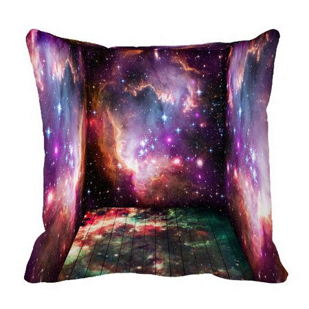 PHFZK Cosmos Cosmic Background Pillow Case, Universe Galaxy Space Nebula Purple Pink Pillowcase Throw Pillow Cushion Cover Two Sides Size 18x18 - Cosmic Cotton Catnip Pillow