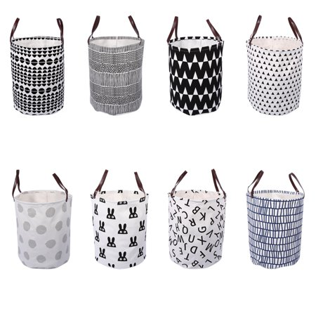 Canvas Handbag Laundry Basket Storage Bag w/ Leather Handles for Baby Kids Room - Halloween Basket For Babies