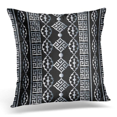 ECCOT Striped Geometric Black with White Vertical Greek Key Meander and Vintage Damask Ornaments Modern Pillowcase Pillow Cover Cushion Case 16x16