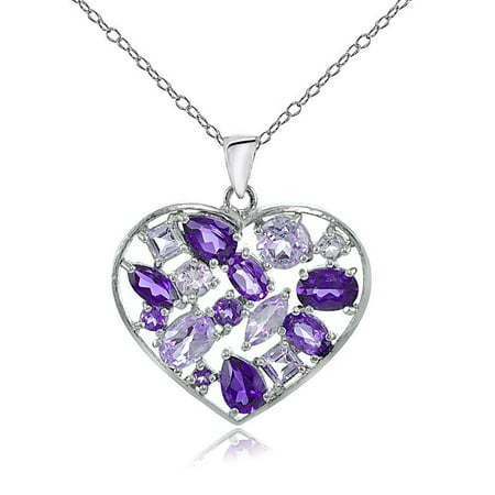 Sterling Silver African Amethyst & Amethyst Cluster Heart Tonal Necklace