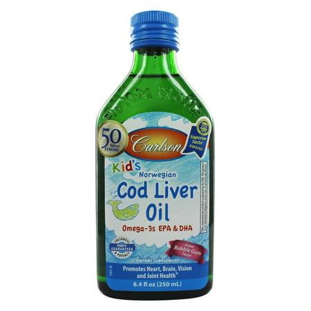 Carlson labs kid 39 s norwegian cod liver oil bubble gum for Cod fish walmart