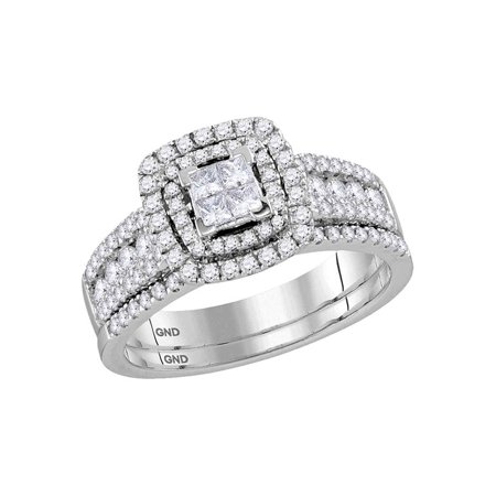 14kt White Gold Womens Princess Diamond Double Halo Bridal Wedding Engagement Ring Band Set 1.00 Cttw