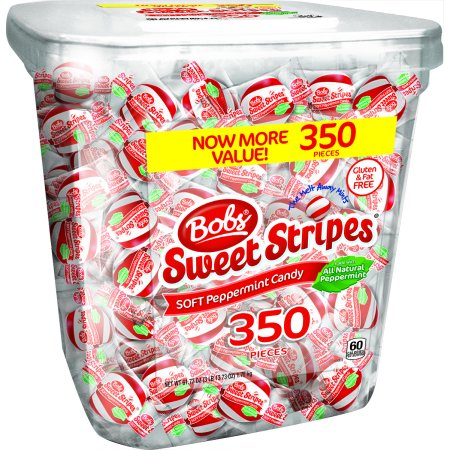 Bob's, Sweet Stripes Peppermint Balls Bulk Candy, 62 Oz, 350 Ct - Soft Mints