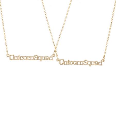 Lux Accessories Goldtone Unicorn Squad Best Friends BFF Necklace Set