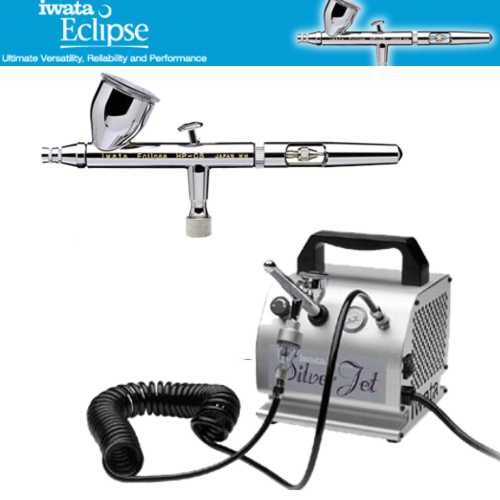 IWATA Eclipse HP-CS AIRBRUSH Silver Jet AIR COMPRESSOR Hobby Tattoo Cake Paint