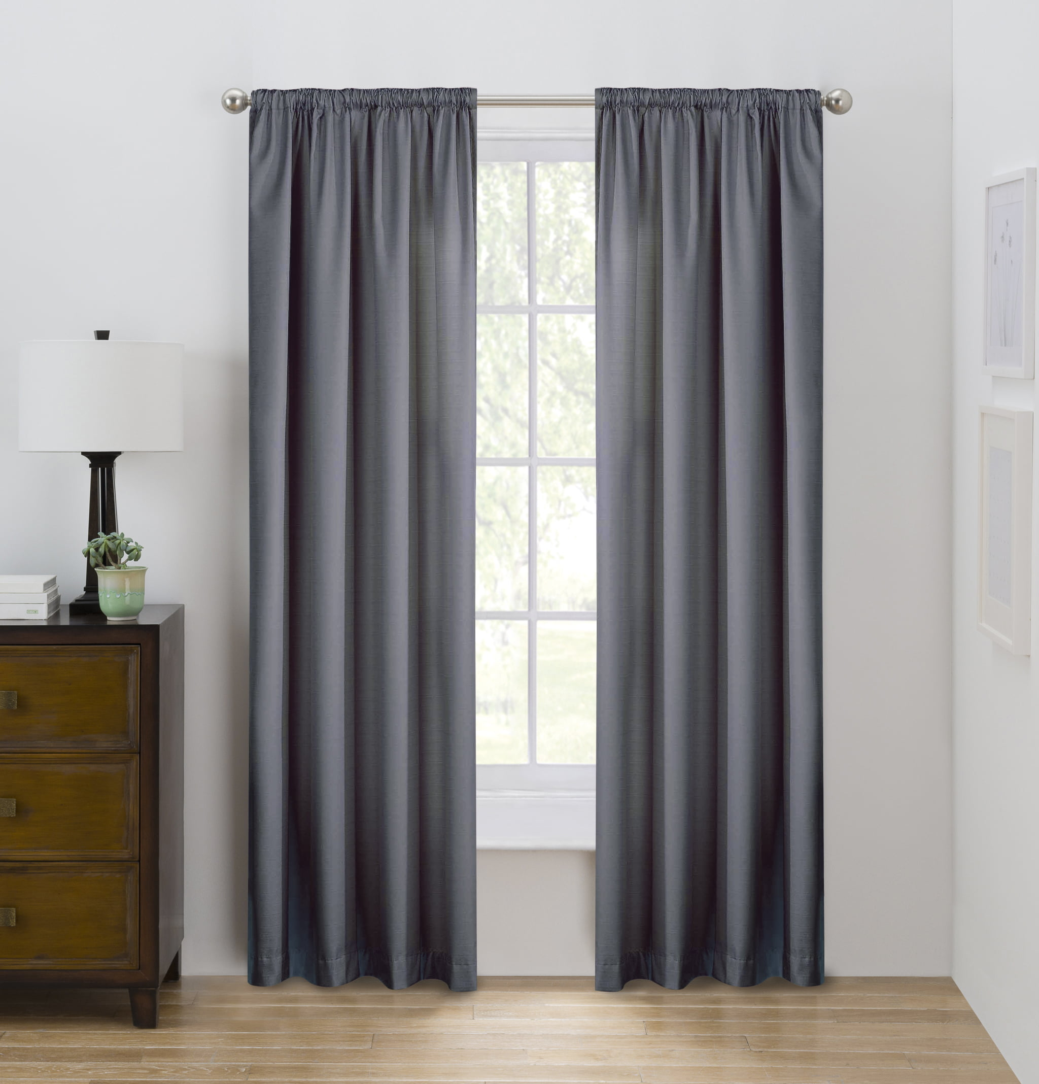 Eclipse Draft Stopper Solid Color Room Darkening Rod Pocket Single Curtain Panel Gray Flannel 42 X 84 Walmart Com Walmart Com