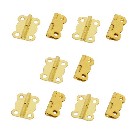Cosmetic Box Wooden Case Metal Foldable  Hinges Gold Tone 10pcs - Hinged Wooden Box