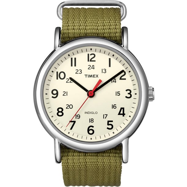 Timex Unisex Weekender 38mm Olive Nylon Slip-Thru Watch