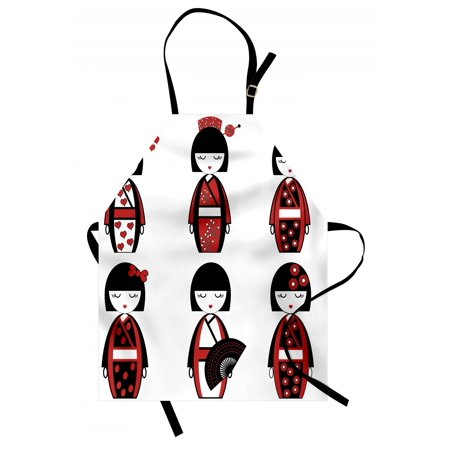 Girls Apron Unique Asian Geisha Dolls in Folkloric Costumes Outfits Hair Sticks Kimono Art Image, Unisex Kitchen Bib Apron with Adjustable Neck for Cooking Baking Gardening, Black Red, by Ambesonne (Geisha Outfits)