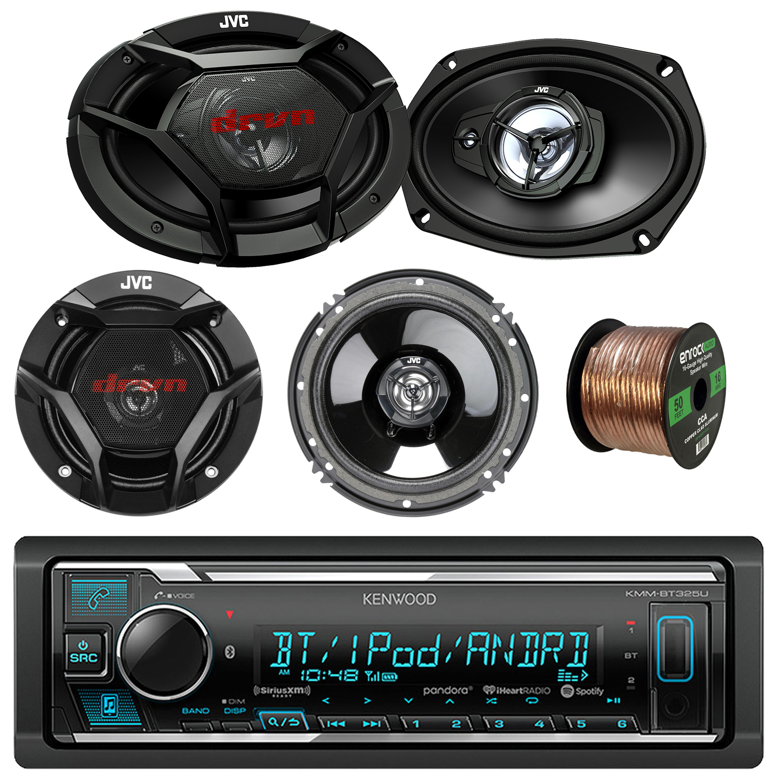"Kenwood KMMBT325U Car Stereo Bluetooth Digital Receiver Bundle Combo With 2x JVC CS-DR6930 6x9"" 3-Way Vehicle Coaxial Speakers + 2x CS-DR620 6.5"" 2-Way Audio Speakers + Enrock 50Ft 16g Speaker Wire"