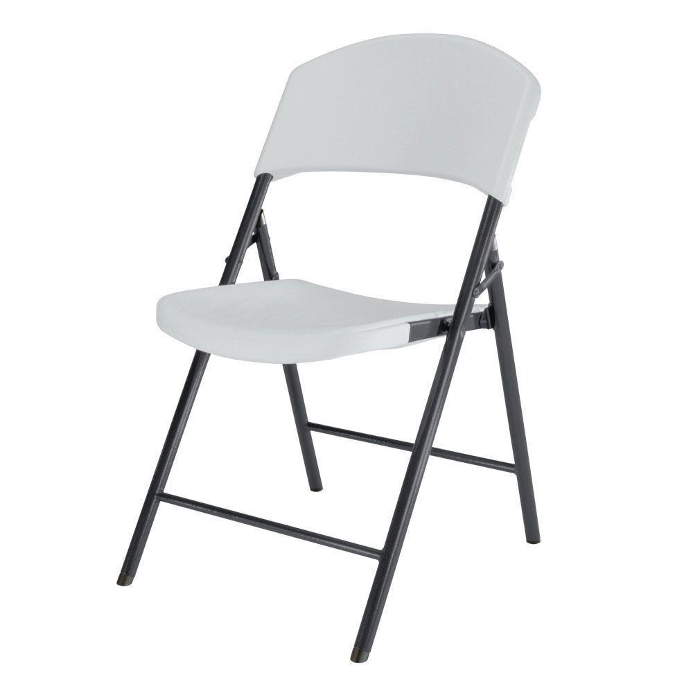 Lifetime Lightweight Indoor Outdoor Plastic Folding Chairs, White, 4 Piece