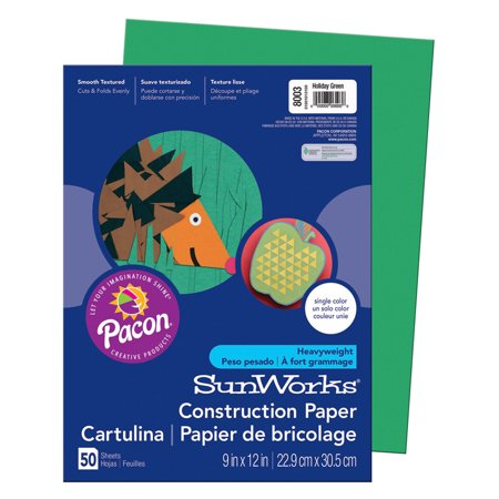 SUNWORKS 9X12 HOLIDAY GREEN 50CT CONSTRUCTION PAPER