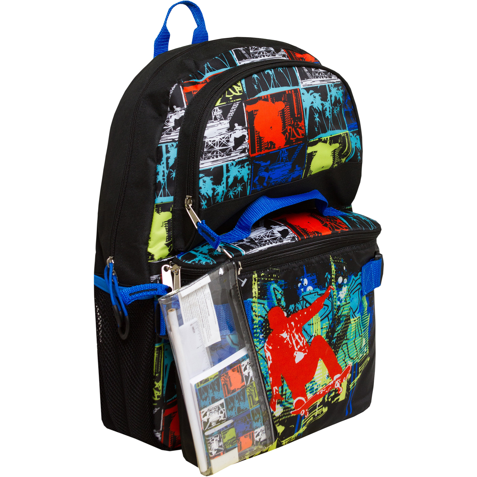 "Triple Pocket 17"" Skater Print Backpack with Pencil Case and Lunch Bag"