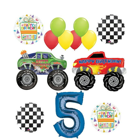 Monster Truck Party Supplies 5th Birthday Balloon Bouquet Decorations](Monster Truck Party)