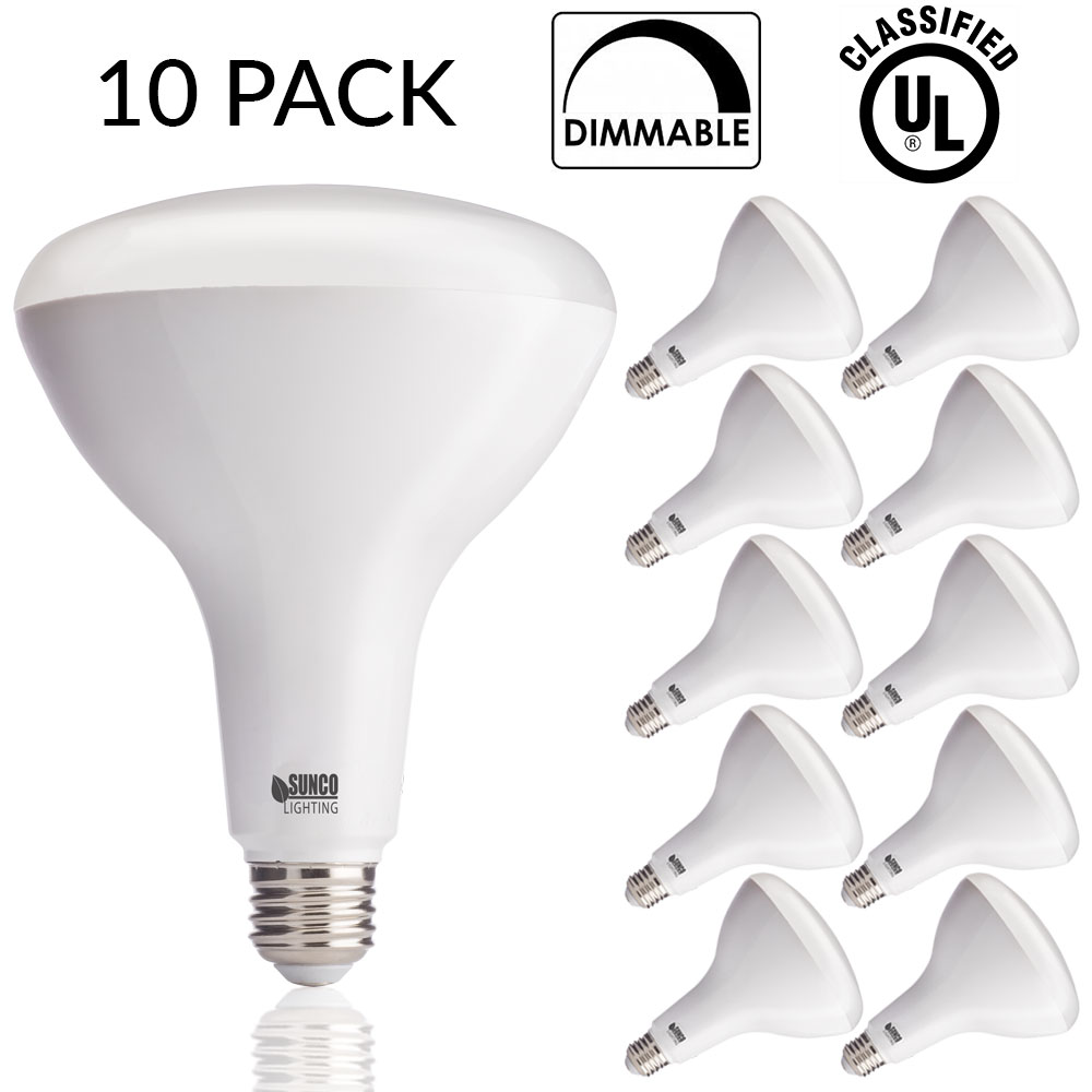SUNCO 10 PACK - BR40 LED 17WATT (100W Equivalent), 5000K Daylight, DIMMABLE, Indoor/Outdoor Lighting, 1400 Lumens, Flood Light Bulb- UL & ENERGY STAR LISTED