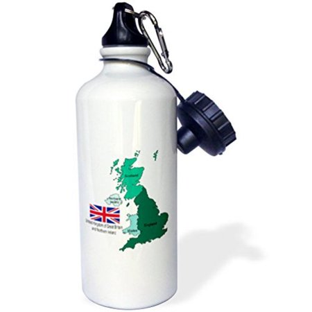 3Drose Flag And Map Of United Kingdom Of Great Britain And Northern Ireland  Sports Water Bottle  21Oz