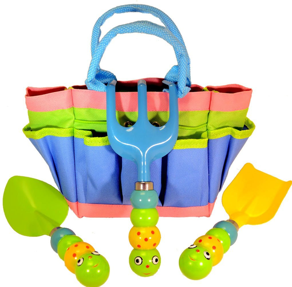 "Kids Garden Tool Set with Tote , Tools Handles Made As "" Cute Bugs "" by Garden Tools"