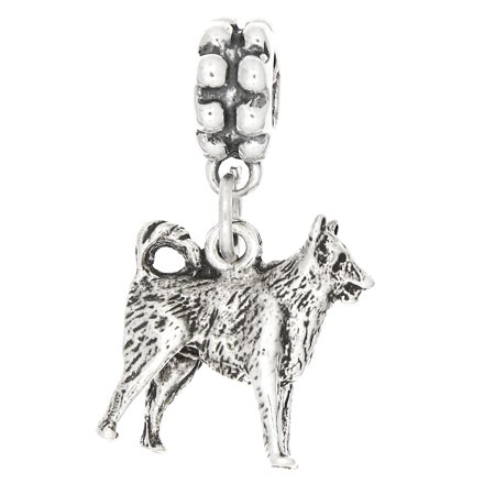 Sterling Silver Three Dimensional Border Collie Dog Dangle Bead Charm