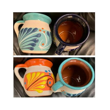 4 Mexican Coffee Mugs Jarritos Mexicanos Flower Design Tazas de Barro Micnocana Ponchero Hot Chocolate Champurrado Tepache Pulque Traditional Clay Party Dish China Made in Mexico