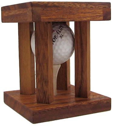 Caged Golf Ball Clever Wooden Brain Teaser Puzzle by Winshare Puzzles and Games