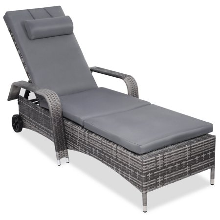 Gymax Adjustable Outdoor Patio Chaise Lounge Cushioned Recliner Chair Furniture - image 3 of 5