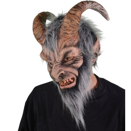 Zagone Krampus Christmas Full Head Mask, Beige Grey, One Size