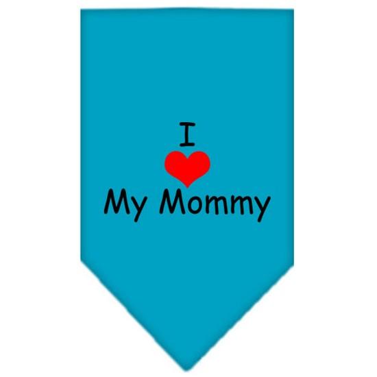 I Heart My Mommy  Screen Print Bandana Turquoise Large