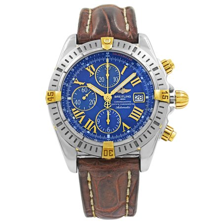 check out f0531 6393c Breitling Chronomat Evolution Blue Roman Dial Steel Automatic Mens Watch  B13356