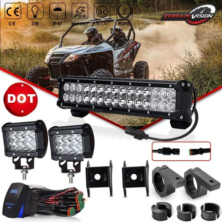 DOT 14in LED Light Bar 90W Off Road Driving Lights + 2PCS 4