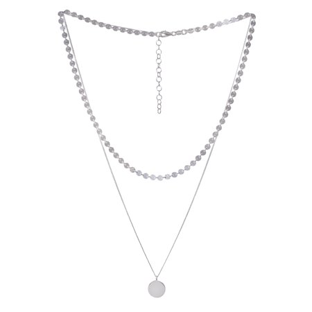 Sterling Silver Two Strand Layered Necklace (Layering Necklace)
