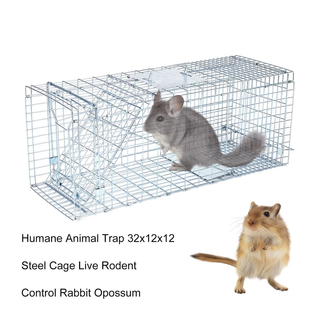 Humane Animal Trap 32x12x12 Steel Cage Live Rodent Control Animal Trap Cage Rabbit Opossum for Easy Catch