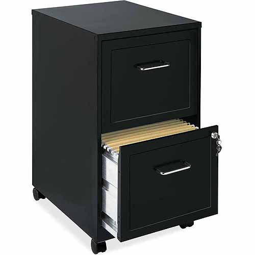 Lorell 2 Drawers Vertical Steel Lockable Filing Cabinet, Black