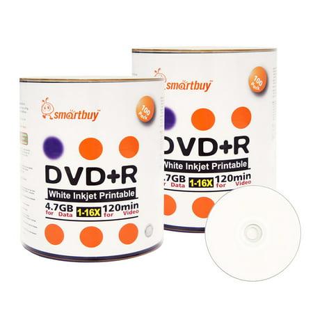 200 Pack Smartbuy 16X DVD+R DVDR 4.7GB White Inkjet Hub Printable Data Video Blank Recordable Disc