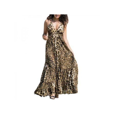 Fysho Women's Fashion Sexy Leopard Print Spaghetti Strap Backless Dress Sexy Halter V-Neck Maxi (Leopard Halter)