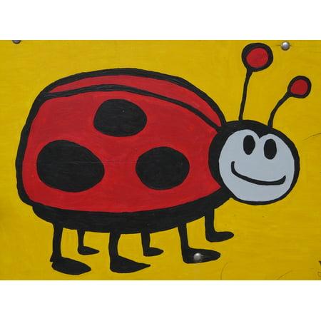 LAMINATED POSTER Insect Image Comic Beetle Ladybug Paint Fig Poster Print 24 x (Painted Ladybug)
