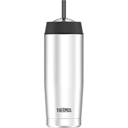 Thermos 16 Ounce Vacuum Insulated Cold Cup with Straw, Stainless