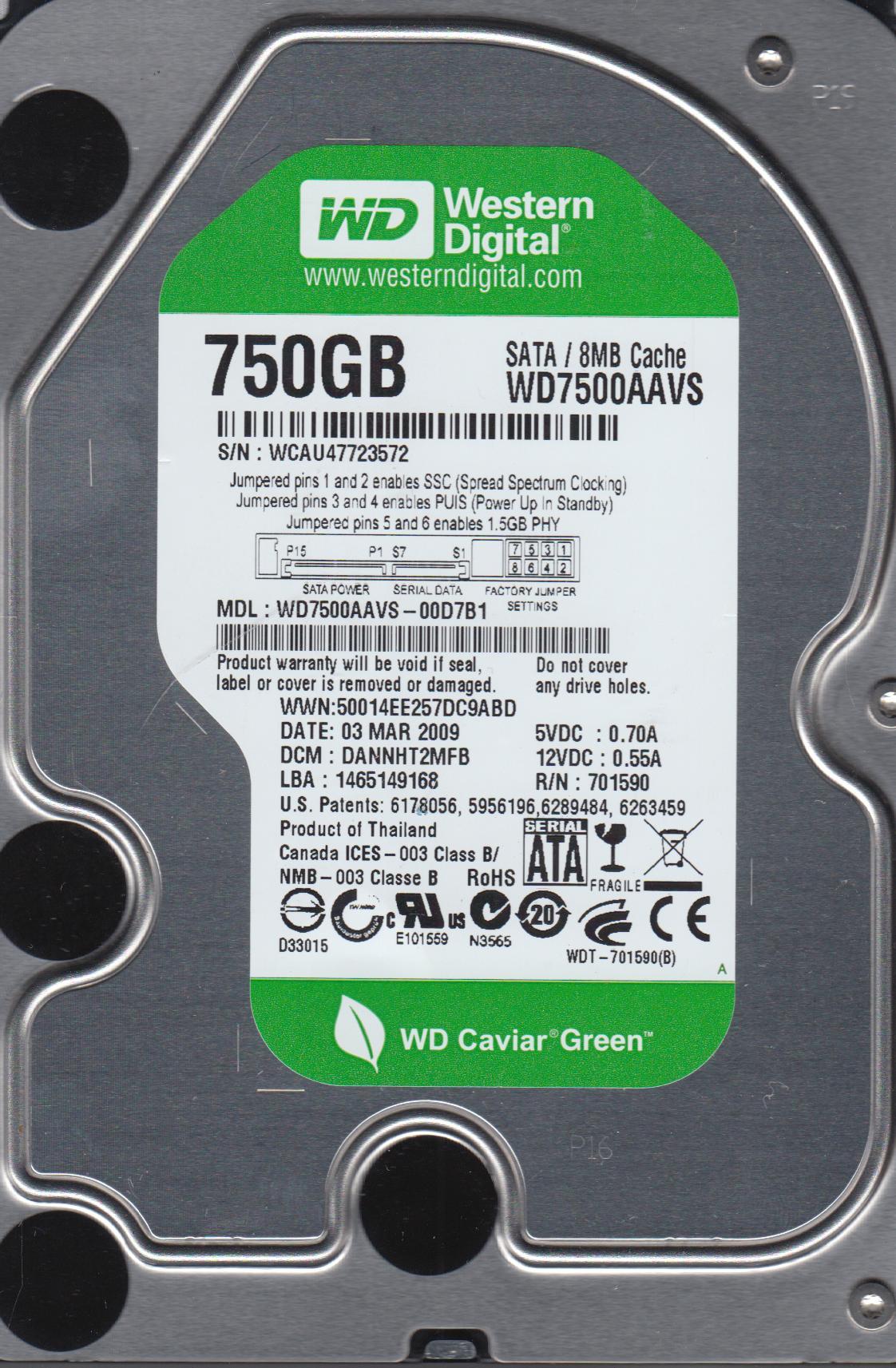 WD7500AAVS-00D7B1, DCM DANNHT2MFB, Western Digital 750GB SATA 3.5 Hard Drive by WD