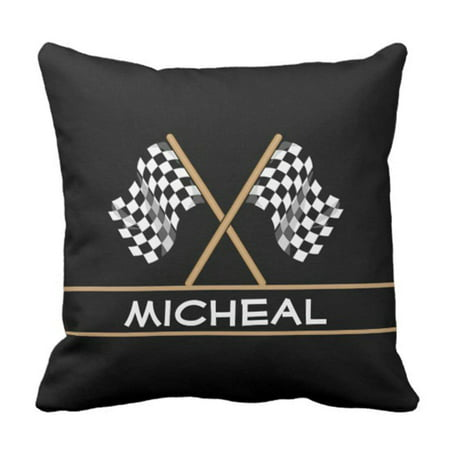 BPBOP Black Mens Personalized Checkered Flag Racing Stripe White Man Pillowcase Cover 20x20 inch](Raceing Flag)