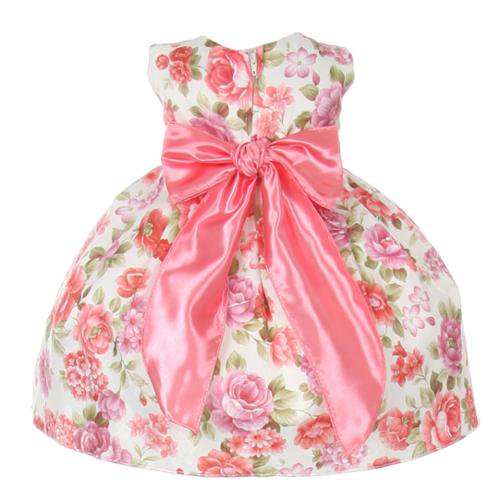 Cinderella Couture Baby Girls Pink Rose Printed Jacquard: Baby Girls Coral Floral Printed Jacquard Bow