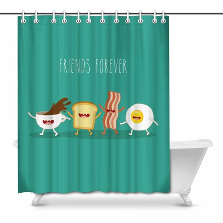 YUSDECOR Funny Breakfast Food Friends Forever Egg Bacon Toast Decor Waterproof Polyester Bathroom Shower Curtain Bath Decorations 66x72 inch - image 1 of 1