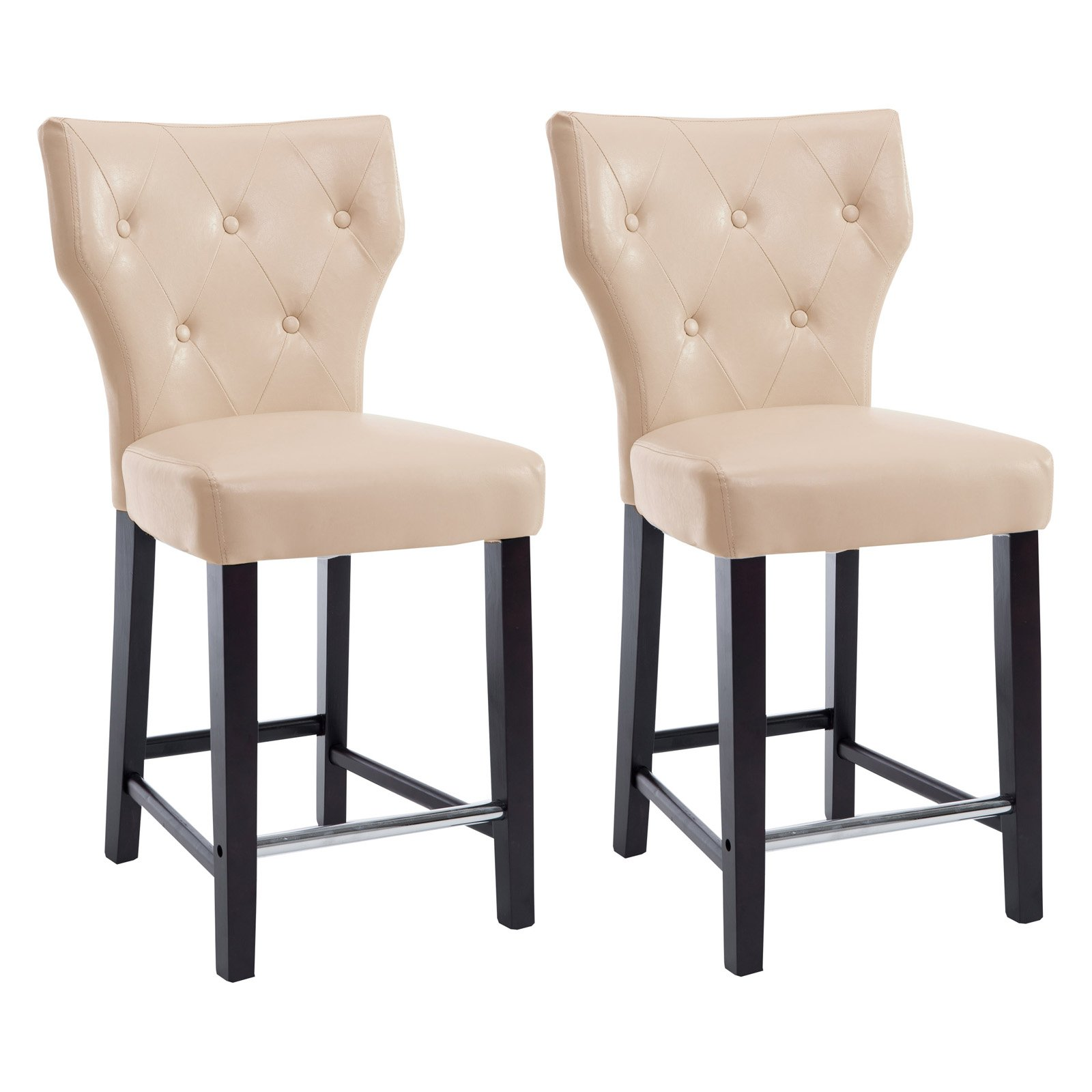 Kings Counter Height Barstool In Bonded Leather Set Of 2 Walmartcom