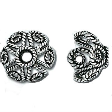 Sterling Silver Genuine Bali 9mm Bead Cap Filigree (4)
