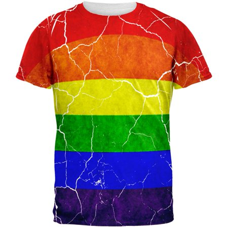 Distressed Gay Pride Flag All Over Mens T Shirt