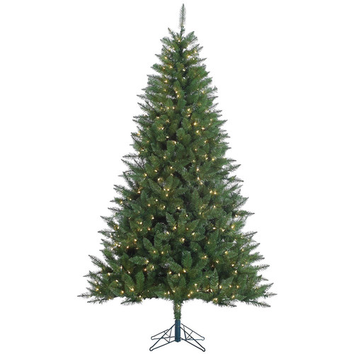 The Holiday Aisle Kennedy 7.5' Green Fir Artificial Christmas Tree with 500 Dura-Lit Clear Lights with Stand