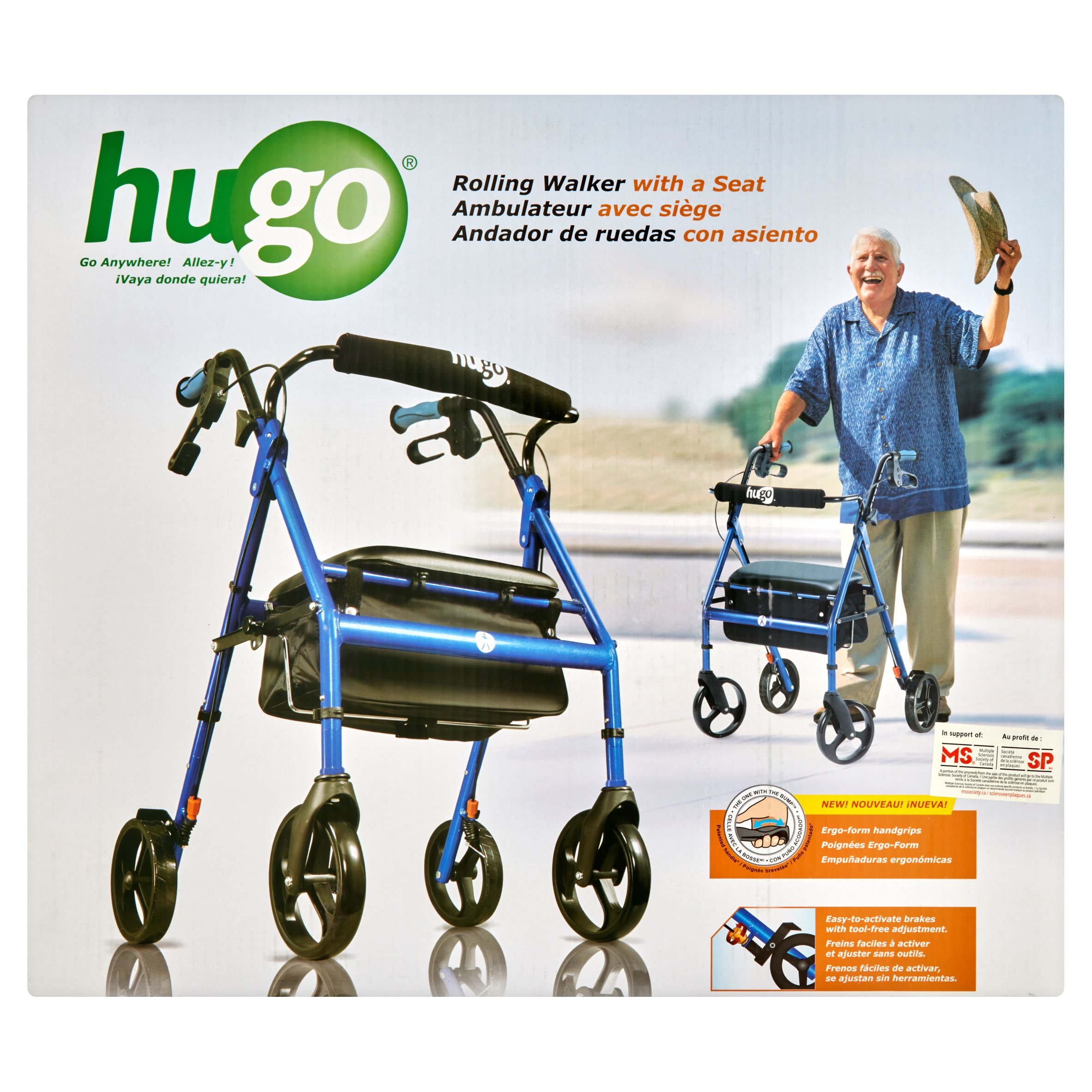 Hugo Pacific Blue Rolling Walker with a Seat