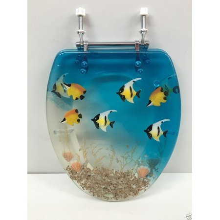 ELONGATED BLUE AQUARIUM FISH AND SEASHELLS RESIN TOILET SEAT CHROME HINGES